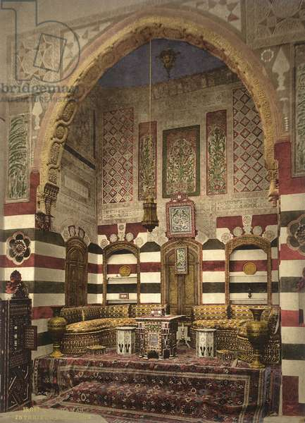 Interior of a reception room in a fine house, Damascus, c.1880-1900 (photochrom)