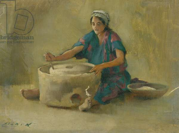 Cottage interior, Siloam, Grinding Corn (oil on canvas)