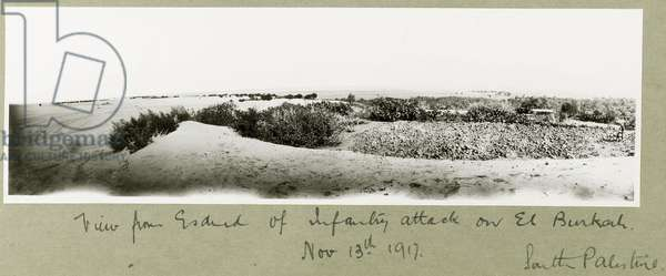 View from Esdud of an infantry attack on El Burkah, 13th November 1917 (b/w photo)