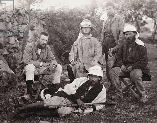 Group of explorers, Judea District, Palestine, 1867 (b/w photo)