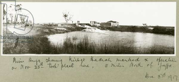 River Auja, showing Khirbet Hadrah, 3rd December 1917 (b/w photo)