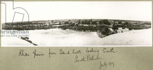 Khan Yunis from sand hills looking south, South Palestine, July 1917 (b/w photo)