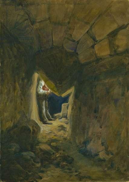 Fallen Voussoir of Robinson's Arch, Jerusalem, 1871 (w/c & pencil on paper)