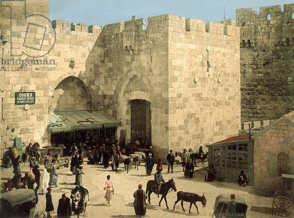 Jaffa Gate, from outside the walls with donkeys and people in front of the gate, c.1880-1900 (photochrom)