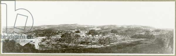 Bethlehem: view south with Herodium in the distance, 1917 (b/w photo)
