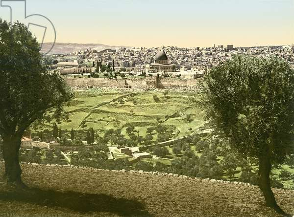 General view of Jerusalem from the East, c.1880-1900 (photochrom)