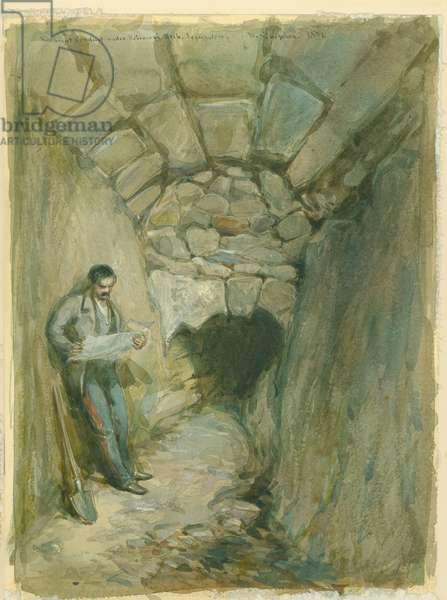 Rock-cut Conduit Under Robinson's Arch, Jerusalem, 1871 (w/c & pencil on paper