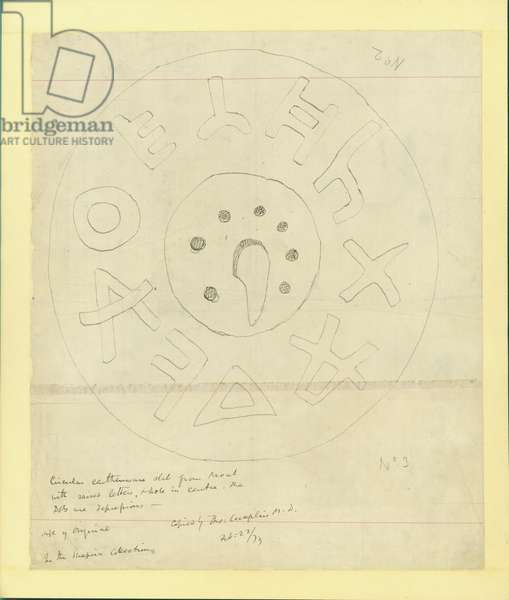 Circular earthenware slab from Moab from Shapira's 2nd Collection, 1873 (w/c & pencil on paper)