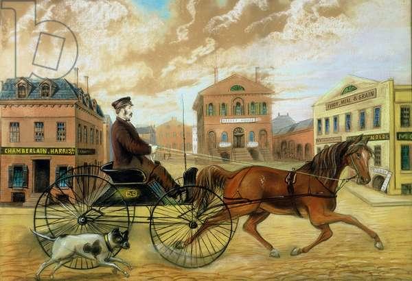 Samuel Chamberlain in Market Square, Salem, 1855-60 (pastel on paper)