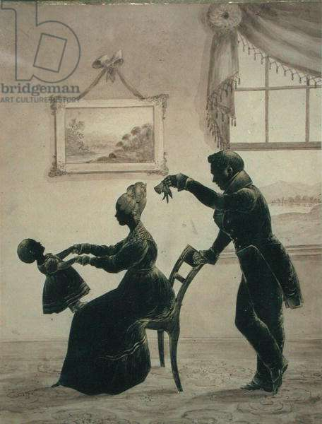 Silhouette of a young family, 1831 (cut & mounted paper with ink & bronze powder details on paper)
