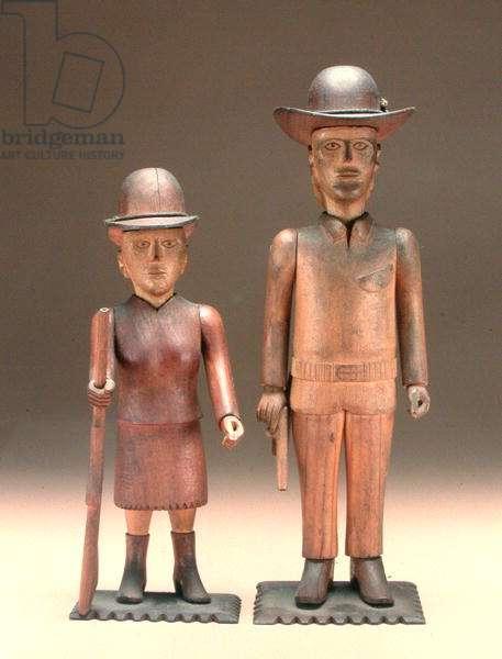 Pioneer Couple, c.1910 (cherry & maple wood)