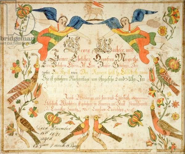 Fraktur for the birth and baptismal certificate for Elizabeth Wachter (1808-71) 1808 (ink & w/c on paper)