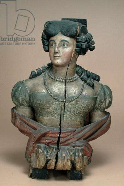 Figurehead of a young lady, 2nd quarter of 19th century (painted wood)