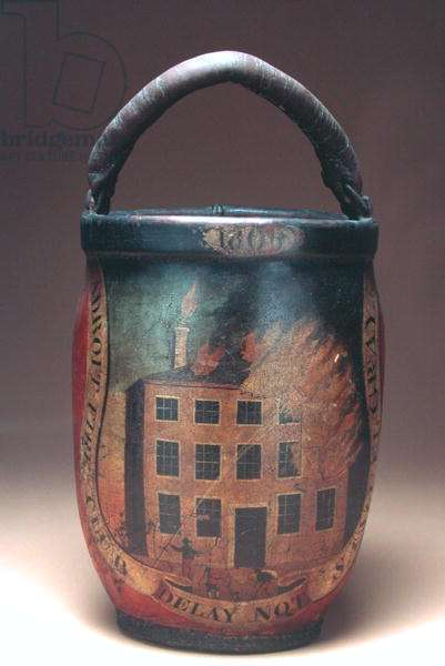 Adroit Fire Club bucket, 1830-40 (painted leather with iron rings)