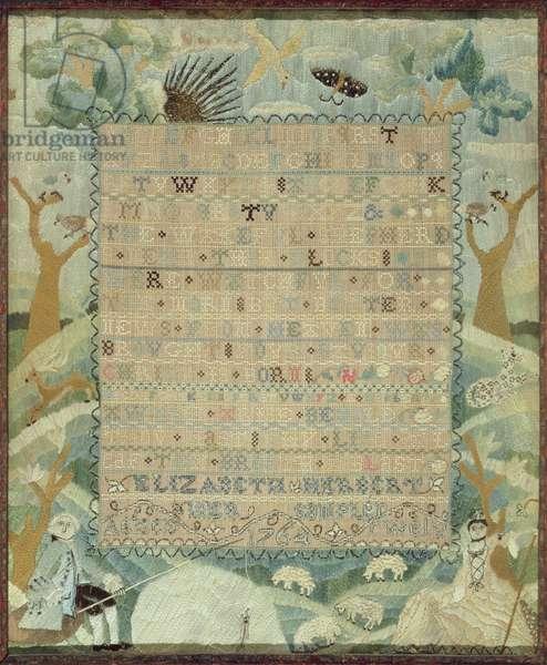 Sampler, 1764 (silk & metal thread on linen)