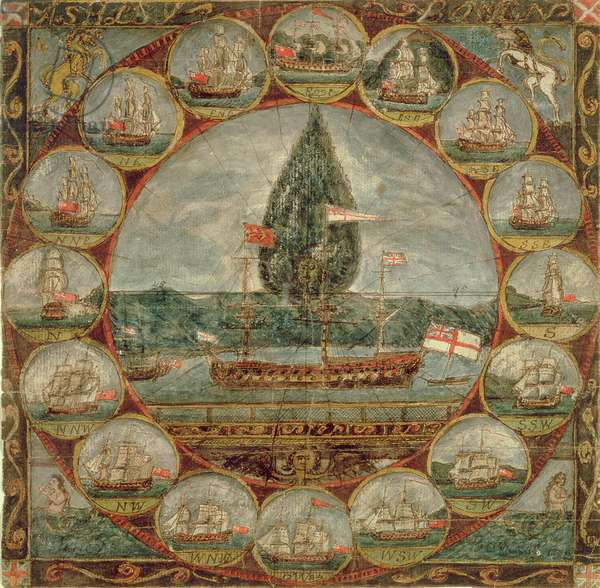 Compass rose with shipping sketches, 1784-89 (w/c on paper)