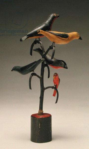 Five Birds in a Tree, late 19th century (painted wood with wire)