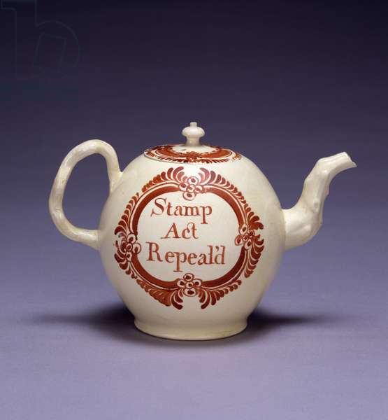 Teapot 'Stamp Act Repeal'd', Cockhill Pit Factory, 1766 (lead-glazed earthenware)