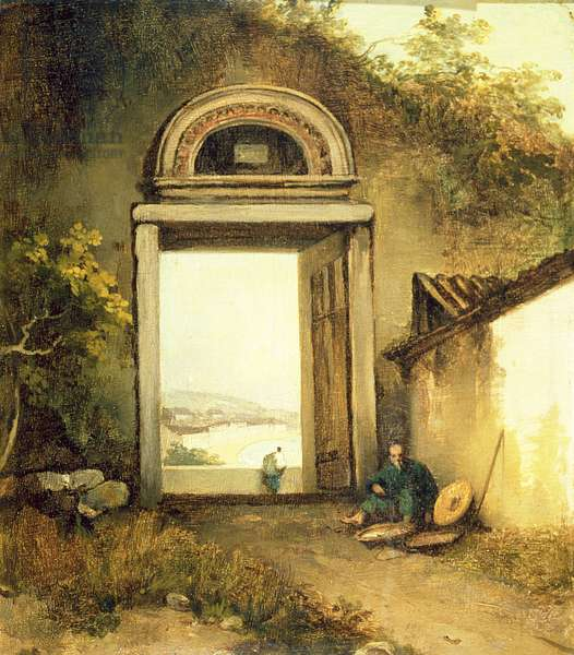 View of Praya Grande, Macao, from a Doorway on Penha Hill, 1834 (oil on canvas)