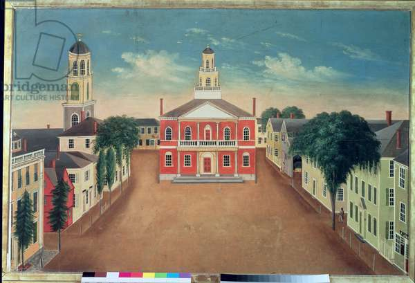 Fireboard depicting a View of Court House Square, Salem, 1810-20 (oil on panel)
