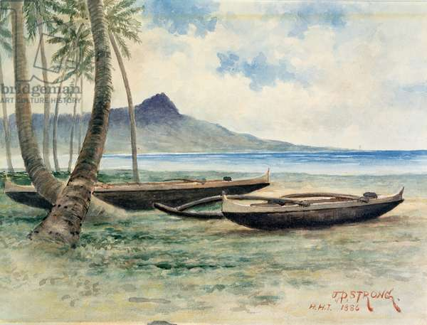 Diamond Head, Hawaii, 1886 (w/c on paper)
