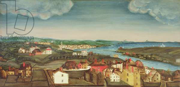 Fireboard depicting a view of Beverly, 1800-20 (oil on panel)