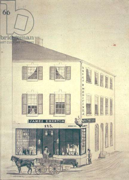 Apothecary shop of James Emerton in Salem, c.1850 (pen & ink and sepia wash on paper)