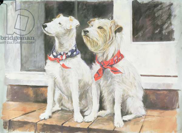 Two Jack Russell Terriers (oil on canvas)