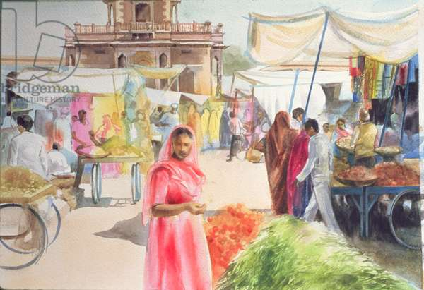 Indian Market, Jodhpur, 1991 (aquacryl on paper)