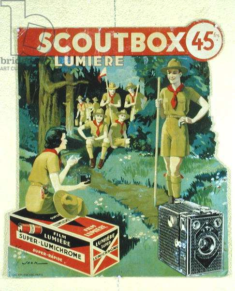 Poster advertising the Scoutbox camera, 1925 (colour litho)