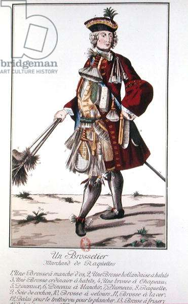 Brush and Racket Seller (colour engraving)