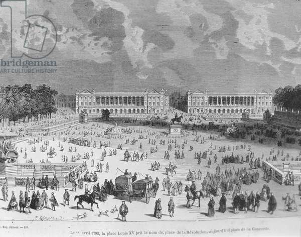 On 11 April, 1792, Place Louis XV was renamed Place de la Revolution and today is called Place de la Concorde, illustration from 'Paris a travers les siecles'. Tome 3. by H. Gourdon de Genouillac, 1886 (engraving)