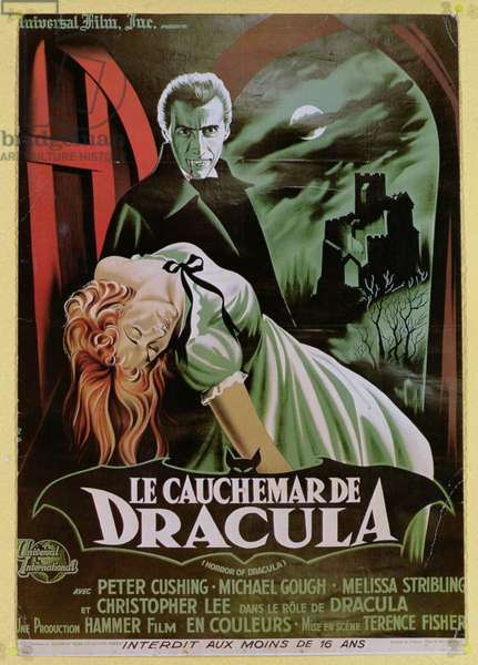 Poster advertising the French version of the film, 'The Horror of Dracula' (colour litho)