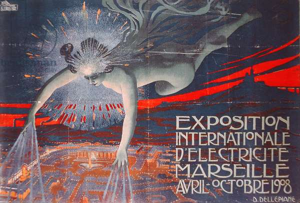 Poster advertising the Exposition Internationale d'Electricite at Marseille, 1908 (colour litho)