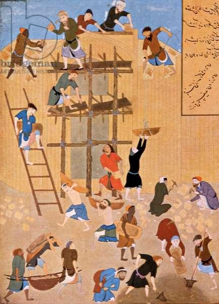 Construction of the Castle of Khavarnaq, Al-Hira, Iraq, 1494 (gouache on paper)