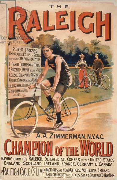 Poster advertising cycles 'Raleigh' with a portrait of Arthur Augustus Zimmerman, world champion, 1893 (colour litho)