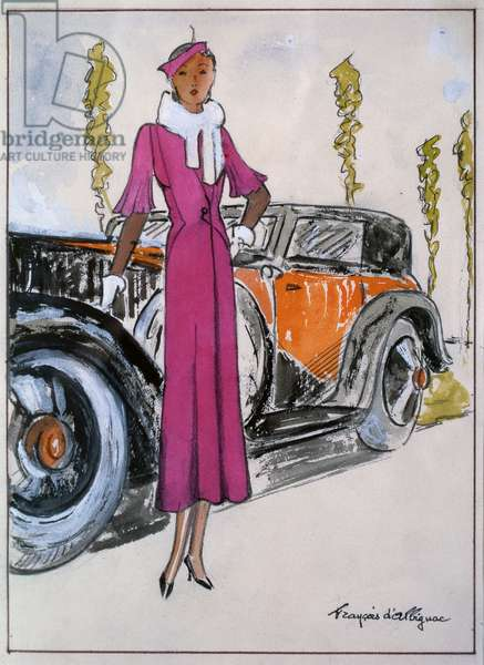 Elegant woman in front of a motor car, 1930 (pastel & w/c on paper)