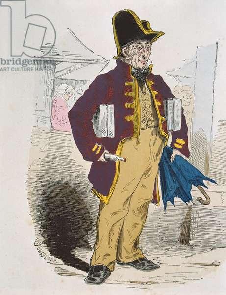 Eau de Cologne Seller in 1845 (colour engraving)