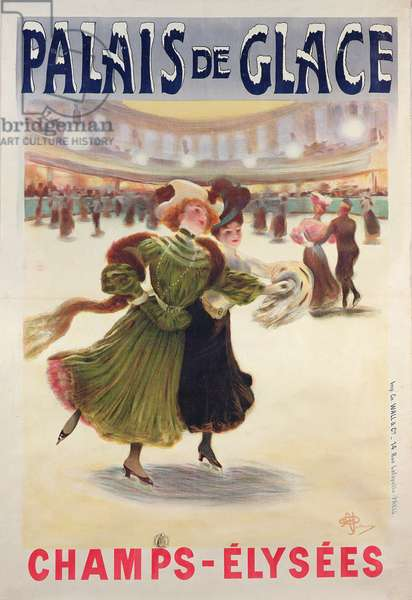 Poster advertising the Palais de Glace ice rink on the Champs-Elysees (colour litho)