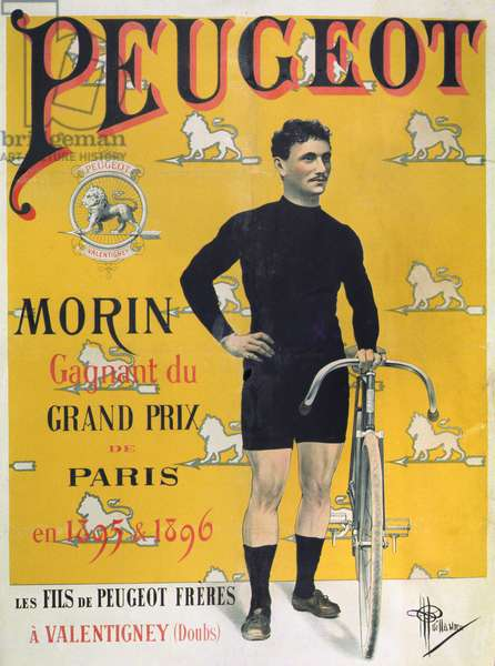 Poster advertising the cycles 'Peugeot', 1896 (colour litho)