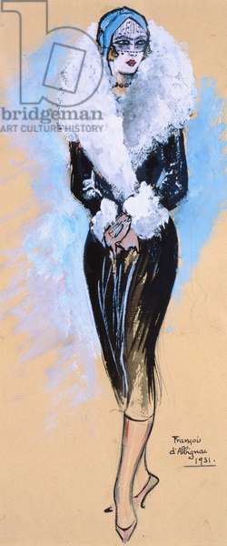 Young woman in fashionable dress, 1931 (pastel & w/c on paper)