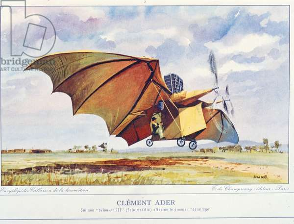 Clement Ader (colour litho)