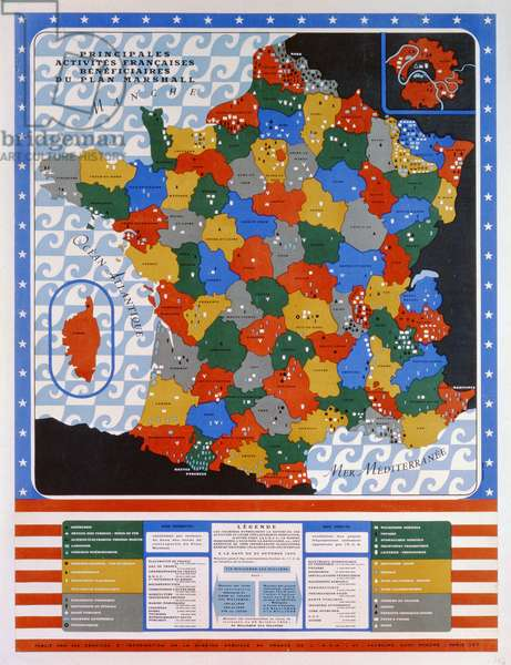Map showing the principal industries, econonomic and commercial activities in France benefiting from the Marshall Plan, 1950 (colour litho)