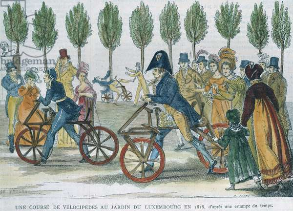 A velocipede race at Jardin du Luxembourg in 1818 after an engraving of the time, engraved by P. Comte (19th century) (colour engraving)