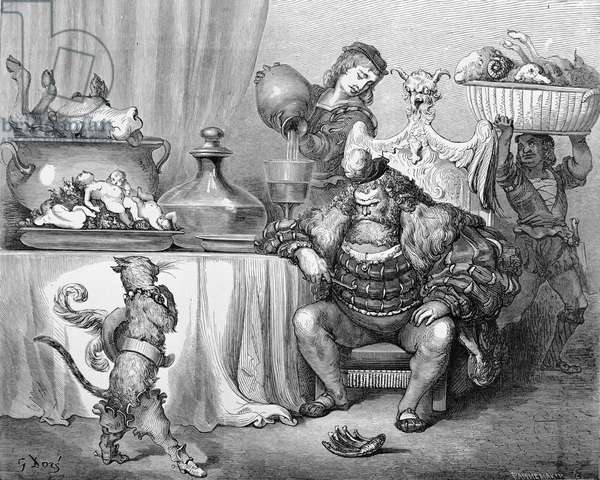 The Ogre receives the cat, illustration for 'Puss in Boots' by Charles Perrault (1628-1703) 1883 (engraving)