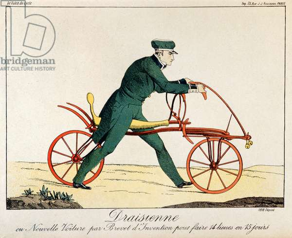 Draisienne, ancestor of the bicycle, 1820 (colour engraving)