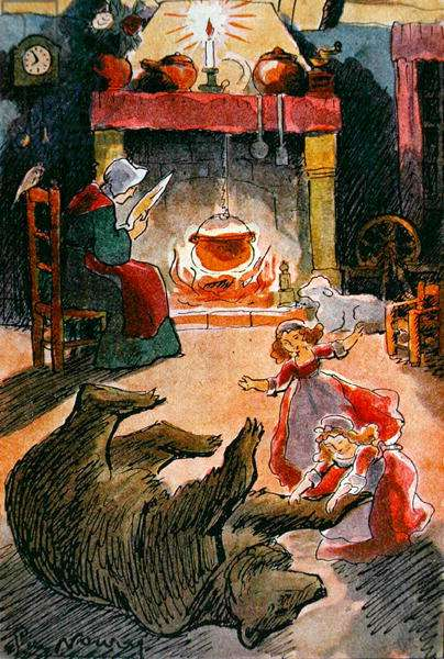 Illustration from 'Snow White and Rose Red' by the Brothers Grimm, 1935 (colour litho)