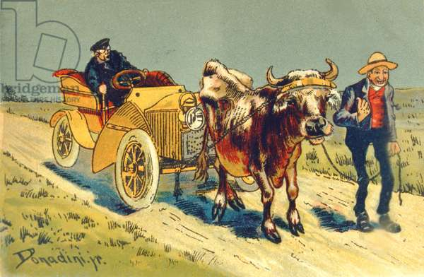 Cow pulling a motor car - a breakdown in the early days of motoring (colour litho)