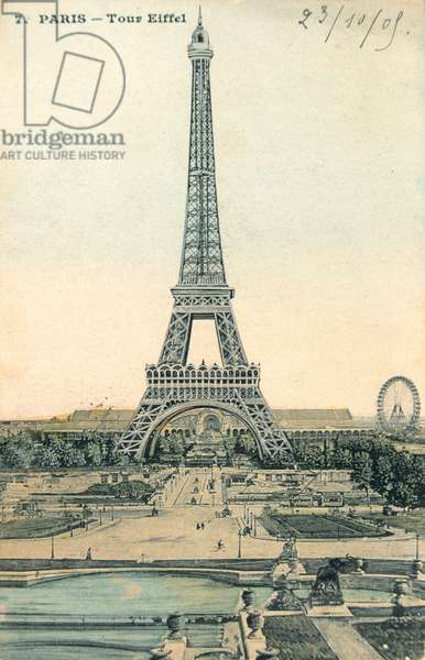 Postcard depicting the Eiffel Tower and the Big Wheel, c.1900 (colour litho)                                                                                                                colour
