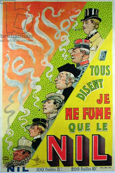 Poster advertising the cigarette brand, Le Nil (colour litho)